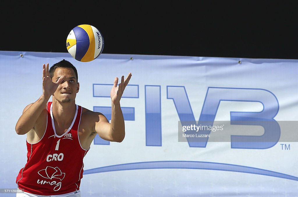 Mario Boras of Croatia serves the ball during FIVB Under 21 World Championships on June 22, 2013 in Umag, Croatia.