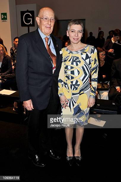 Mario Boselli and Irene Pivetti attend the Angelo Marani Fashion Show as part of Milan Fashion Week Womenswear Autumn/Winter 2011 on February 23 2011...