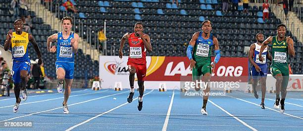Mario Burke from Barbados and Filippo Tortu from Italy and Noah Lyles from USA and Paulo Andre De Oliveira from Brazil and Tlotliso Leotlela from...