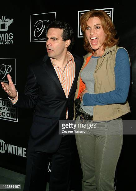 Mario Cantone and Mariska Hargitay during Premiere Party for Mario Cantone's 'Laugh Whore' on Showtime at The Garden of Ono in New York City New York...