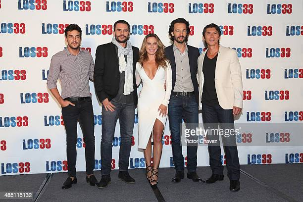 Mario Casas Juan Pablo Raba Rodrigo Santoro Kate del Castillo and Lou Diamond Phillips attend 'Los 33' press conference at Four Seasons hotel on...