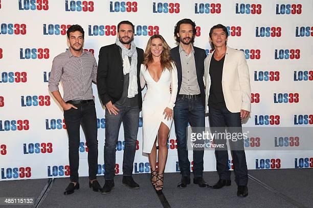 Mario Casas Juan Pablo Raba Rodrigo Santoro Kate del Castillo and Lou Diamond Phillips attend 'Los 33' press conference at Four Seasons hotel on...