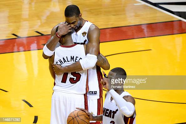 Mario Chalmers Chris Bosh and Dwyane Wade of the Miami Heat celebrate after they won 10498 against the Oklahoma City Thunder in Game Four of the 2012...