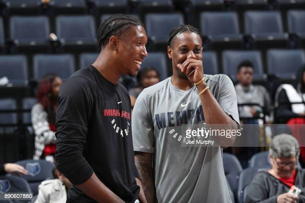 Mario Chalmers of the Memphis Grizzlies and Josh Richardson of the Miami Heat talk before the game on December 11 2017 at FedExForum in Memphis...