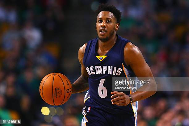 Mario Chalmers of the Memphis Grizzlies dribbles against the Boston Celtics during the second quarter at TD Garden on March 9 2016 in Boston...