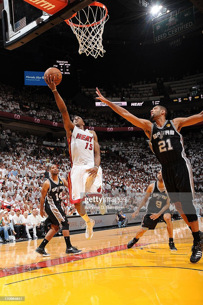 Mario Chalmers #15 of the Miami Heat attempts a shot during Game Seven of the 2013 NBA Finals on June 20, 2013 at the American Airlines Arena in Miami, Florida.