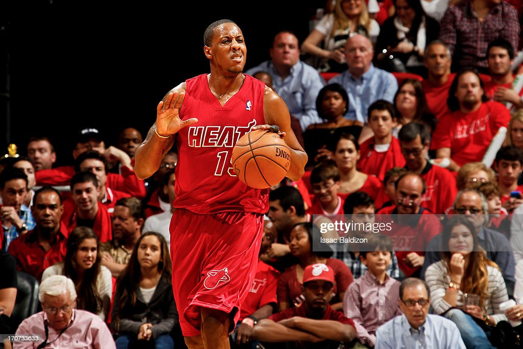 <a gi-track='captionPersonalityLinkClicked' href=/galleries/search?phrase=Mario+Chalmers&family=editorial&specificpeople=802115 ng-click='$event.stopPropagation()'>Mario Chalmers</a> #15 of the Miami Heat calls out a play to his teammates against the Oklahoma City Thunder during a Christmas Day game on December 25, 2012 at American Airlines Arena in Miami, Florida.
