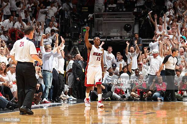 Mario Chalmers of the Miami Heat celebrates during Game Four of the 2012 NBA Finals between the Miami Heat and the Oklahoma City Thunder at American...