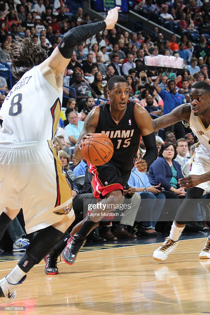 <a gi-track='captionPersonalityLinkClicked' href=/galleries/search?phrase=Mario+Chalmers&family=editorial&specificpeople=802115 ng-click='$event.stopPropagation()'>Mario Chalmers</a> #15 of the Miami Heat drives against the New Orleans Pelicans on March 22, 2014 at the Smoothie King Center in New Orleans, Louisiana.