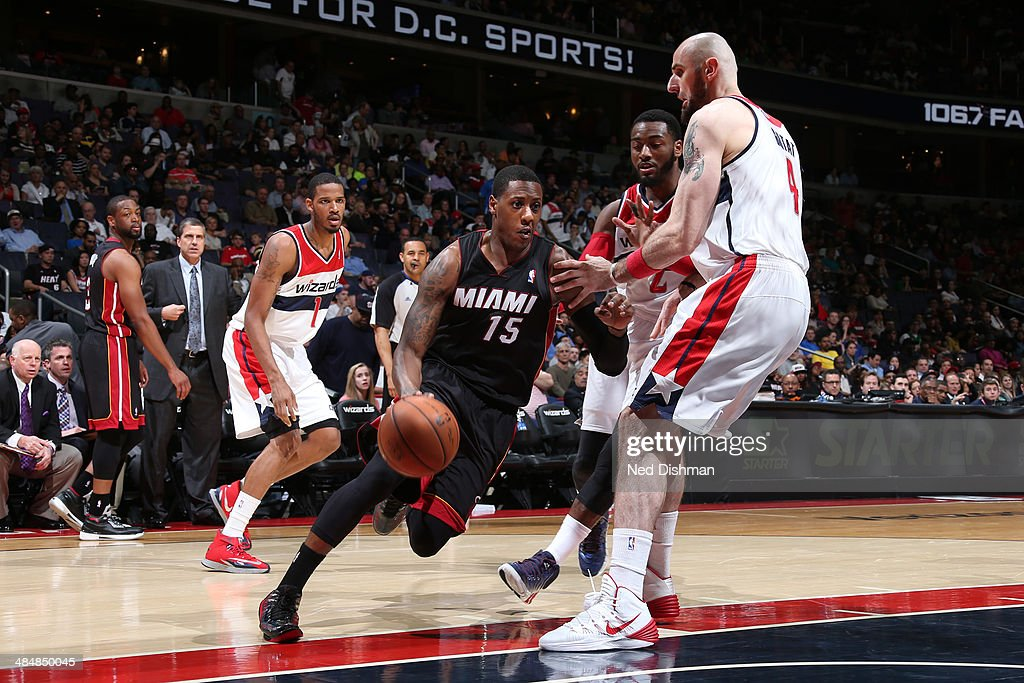 <a gi-track='captionPersonalityLinkClicked' href=/galleries/search?phrase=Mario+Chalmers&family=editorial&specificpeople=802115 ng-click='$event.stopPropagation()'>Mario Chalmers</a> #15 of the Miami Heat drives against the Washington Wizards during the game at the Verizon Center on April 14, 2014 in Washington, DC.