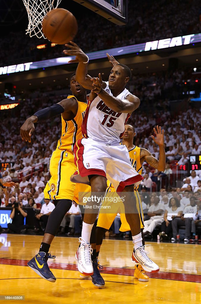 <a gi-track='captionPersonalityLinkClicked' href=/galleries/search?phrase=Mario+Chalmers&family=editorial&specificpeople=802115 ng-click='$event.stopPropagation()'>Mario Chalmers</a> #15 of the Miami Heat looks to pass against <a gi-track='captionPersonalityLinkClicked' href=/galleries/search?phrase=Ian+Mahinmi&family=editorial&specificpeople=740196 ng-click='$event.stopPropagation()'>Ian Mahinmi</a> #28 of the Indiana Pacers in the first half during Game Two of the Eastern Conference Finals at AmericanAirlines Arena on May 24, 2013 in Miami, Florida.