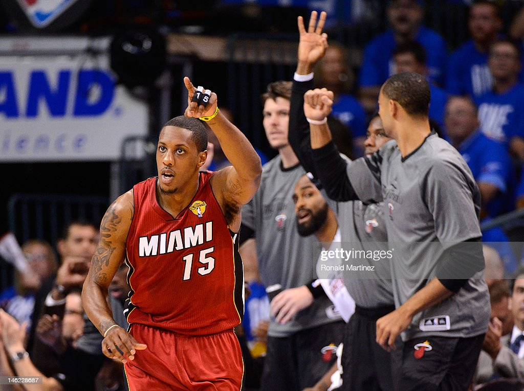 Mario Chalmers #15 of the Miami Heat reacts after making a basket in the first quarter in Game One of the 2012 NBA Finals against the Oklahoma City Thunder at Chesapeake Energy Arena on June 12, 2012 in Oklahoma City, Oklahoma.