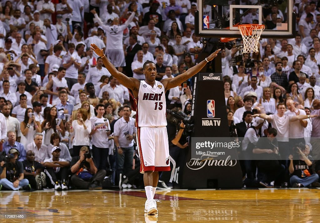 <a gi-track='captionPersonalityLinkClicked' href=/galleries/search?phrase=Mario+Chalmers&family=editorial&specificpeople=802115 ng-click='$event.stopPropagation()'>Mario Chalmers</a> #15 of the Miami Heat reacts in overtime against the San Antonio Spurs during Game Six of the 2013 NBA Finals at AmericanAirlines Arena on June 18, 2013 in Miami, Florida.