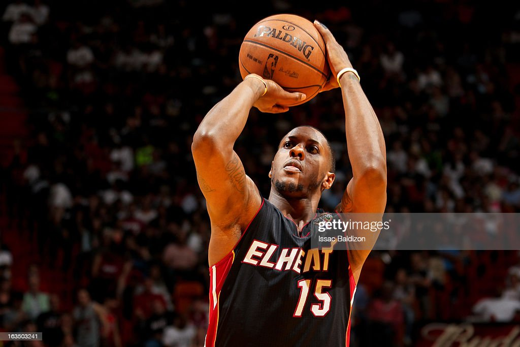 Mario Chalmers #15 of the Miami Heat shoots a free-throw against the Indiana Pacers on March 10, 2013 at American Airlines Arena in Miami, Florida.