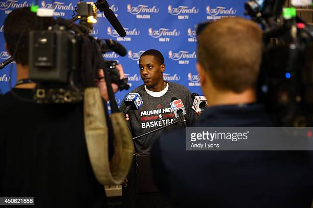 Mario Chalmers of the Miami Heat speaks to the media on an off day following Game Four of the 2014 NBA Finals against the San Antonio Spurs at the...