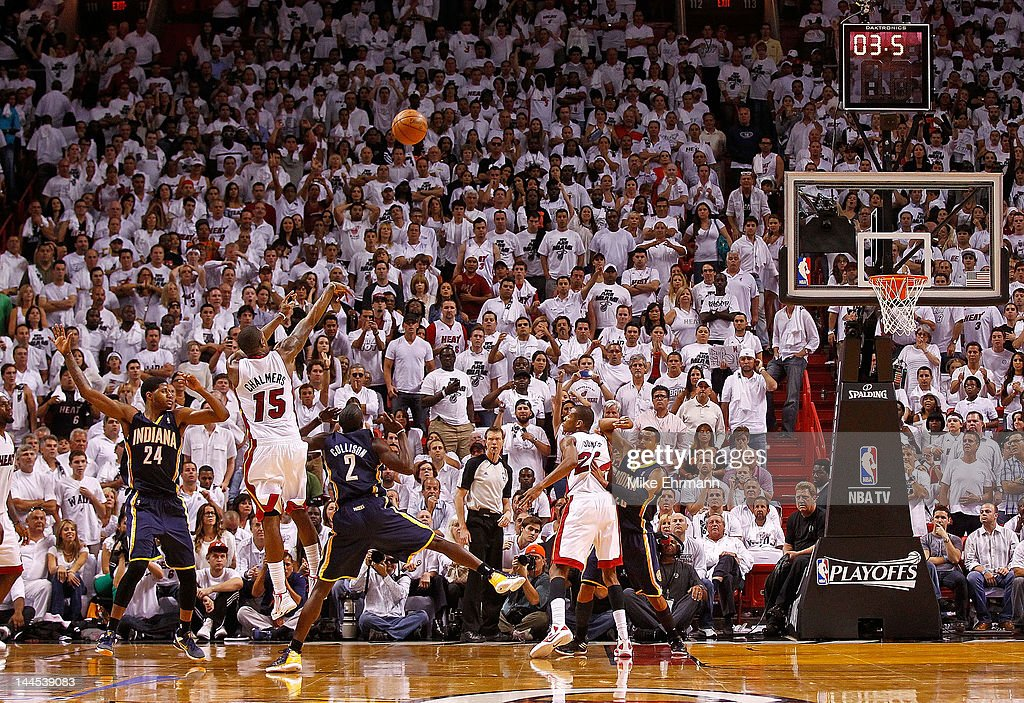 Mario Chalmers of the Miami Heat takes the last shot during Game Two of the Eastern Conference Semifinals in the 2012 NBA Playoffs against the...