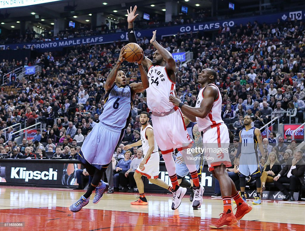 Mario Chamlers #6 of the Memphis Grizzlies shoots the ball as Patrick Patterson #54 of the Toronto Raptors defends during the first half of an NBA game at the Air Canada Centre on February 21, 2016 in Toronto, Ontario, Canada.
