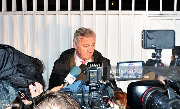 Mario Conde's lawyer Ignacio Pelaez attends Mario Conde's house during a registration at Mario Conde's house on April 11 2016 in Madrid Spain Former...