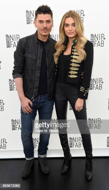Mario Dedivanovic and Chloe Lloyd attend the Mario Dedivanovic Maria Hatzistefanis launch of NIPFAB Makeup with model Chloe Lloyd on March 20 2017 in...