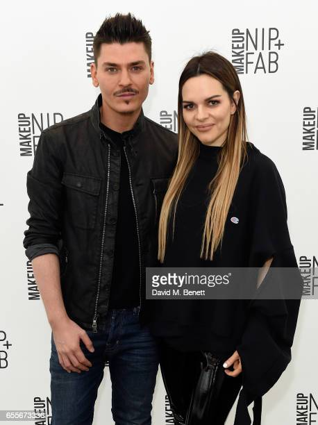 Mario Dedivanovic and Maria Hatzistefanis attend the Mario Dedivanovic Maria Hatzistefanis launch of NIPFAB Makeup with model Chloe Lloyd on March 20...