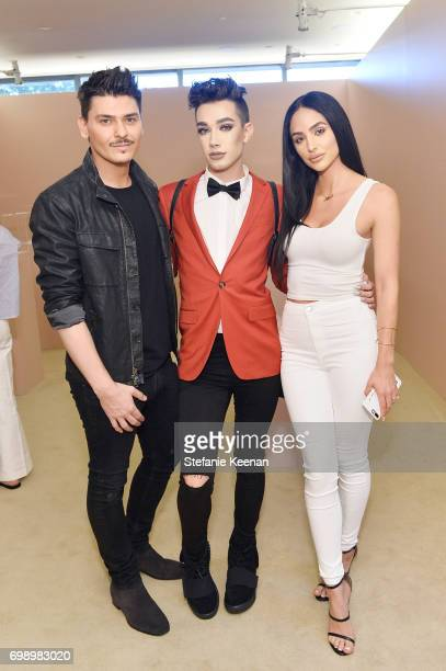 Mario Dedivanovic James Charles and Ashley Holm celebrate The Launch Of KKW Beauty on June 20 2017 in Los Angeles California