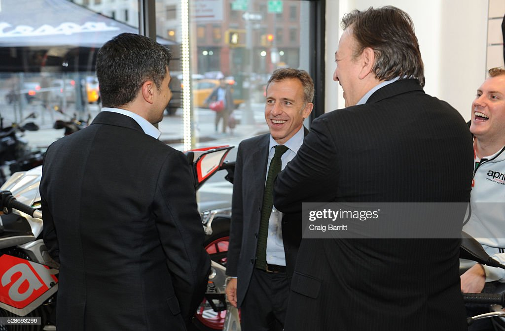 Mario Di Maria, CEO Piagio Group America attends the New York debut of the Aprilia RSV4 World SBK RF Misano & Moto Guzzi MGX-21 Flying Fortress at Vespa Manhattan Flagship on May 6, 2016 in New York City.