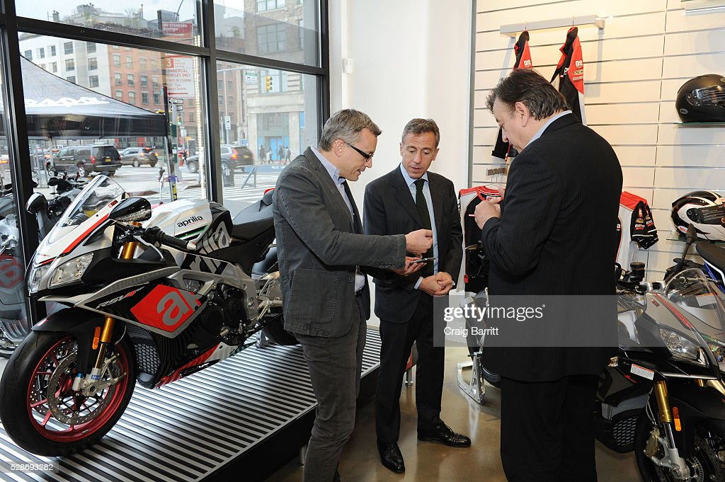 Mario Di Maria, CEO Piagio Group Americas attends the New York debut of the Aprilia RSV4 World SBK RF Misano & Moto Guzzi MGX-21 Flying Fortress at Vespa Manhattan Flagship on May 6, 2016 in New York City.
