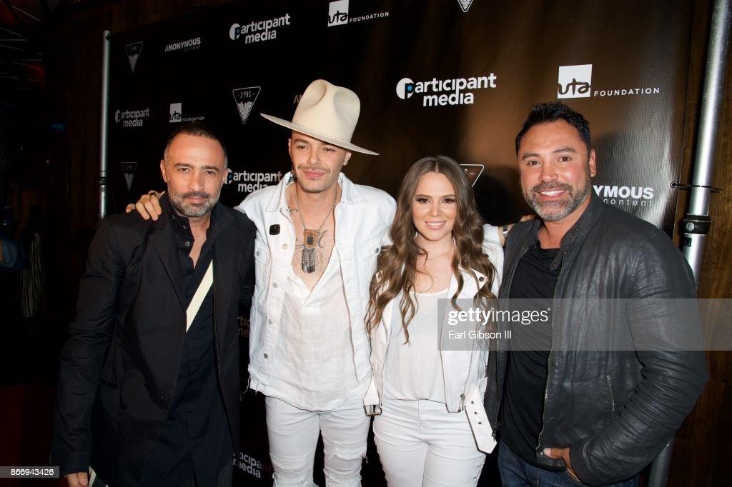 Mario Domm, Jesse& Joy and Oscar De La Hoya attend Fuerza Mexico Fundraiser at Conga Room on October 26, 2017 in Los Angeles, California.