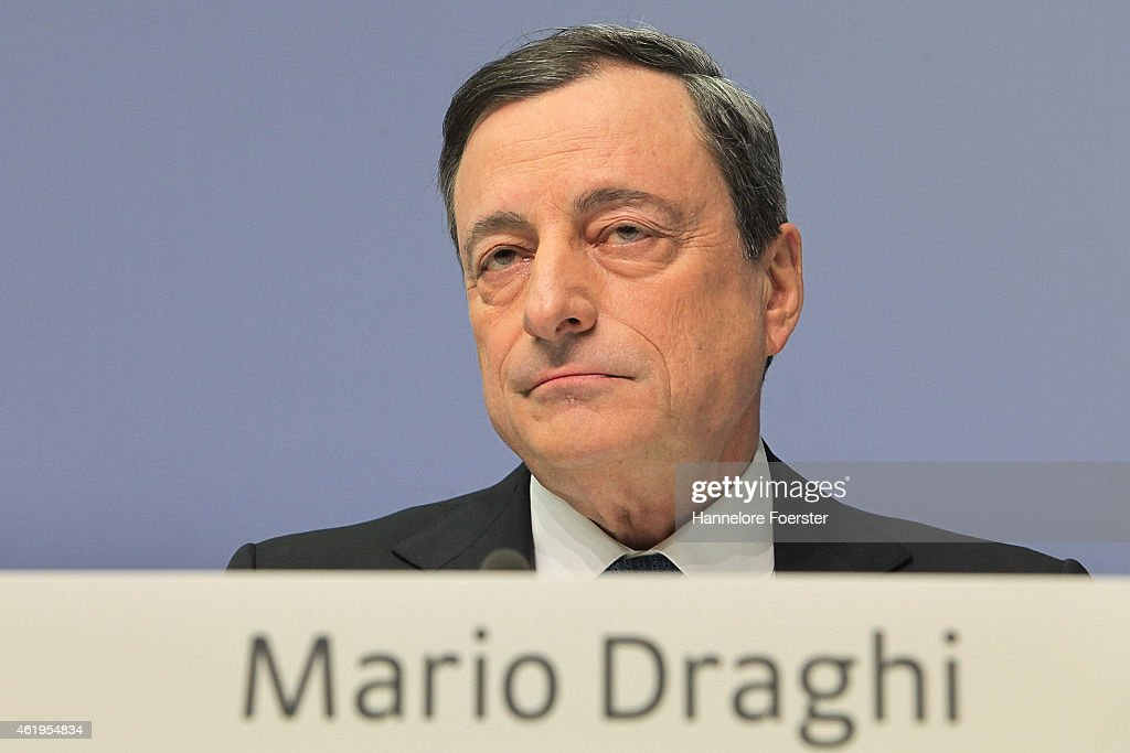 <a gi-track='captionPersonalityLinkClicked' href=/galleries/search?phrase=Mario+Draghi&family=editorial&specificpeople=571678 ng-click='$event.stopPropagation()'>Mario Draghi</a>, head of the European Central Bank (ECB), arrives to speak to journalists following a meeting of the ECB governing board on January 22, 2015 in Frankfurt, Germany. The Eurozone group of nations is threatened by potential deflation and many analysts are counting on the ECB to take proactive measures, including a bond-buying initiative. While the U.S. economy shows to be on a strong path to recovery, overall growth in Europe remains weak and the Euro has fallen significantly in value on world markets.
