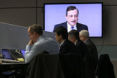 Mario Draghi head of the European Central Bank is seen in the newsroom to speak to journalists after a meeting of the ECB governing board on January...