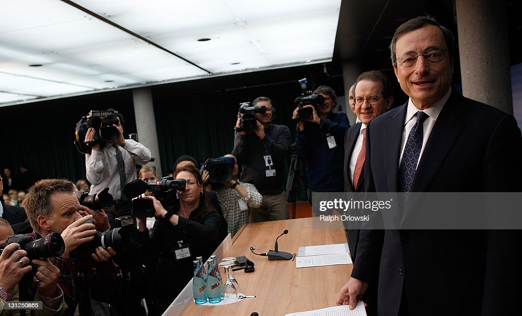 <a gi-track='captionPersonalityLinkClicked' href=/galleries/search?phrase=Mario+Draghi&family=editorial&specificpeople=571678 ng-click='$event.stopPropagation()'>Mario Draghi</a> (R), new President of the European Central Bank (ECB), accompanied by vice-president <a gi-track='captionPersonalityLinkClicked' href=/galleries/search?phrase=Vitor+Constancio&family=editorial&specificpeople=3163427 ng-click='$event.stopPropagation()'>Vitor Constancio</a> (2ndR) arrive for a news conference on November 3, 2011 in Frankfurt am Main, Germany. Draghi officially took over from Jean-Claude Trichet as ECB President on November 1 and announced an interest rate cut of 0.25 points from 1.5 percent to 1.25 percent.