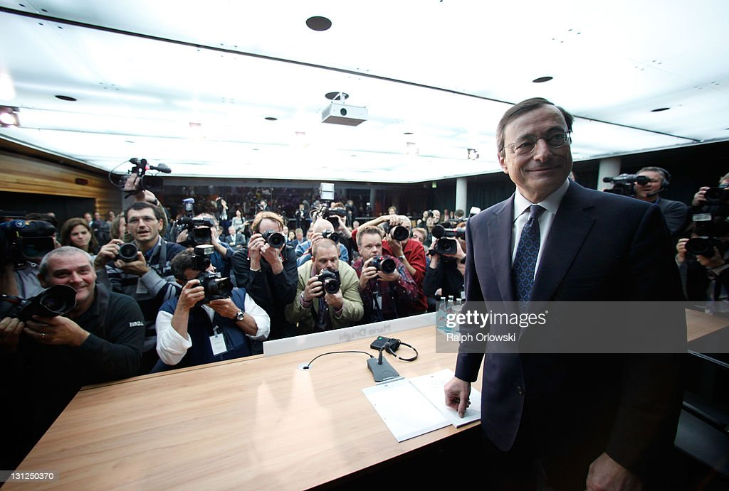 <a gi-track='captionPersonalityLinkClicked' href=/galleries/search?phrase=Mario+Draghi&family=editorial&specificpeople=571678 ng-click='$event.stopPropagation()'>Mario Draghi</a>, new President of the European Central Bank (ECB), arrives for a news conference following the first meeting of the ECB Governing Council with Draghi at the helm on November 3, 2011 in Frankfurt am Main, Germany. Draghi officially took over from Jean-Claude Trichet as ECB President on November 1 and announced an interest rate cut of 0.25 points from 1.5 percent to 1.25 percent.