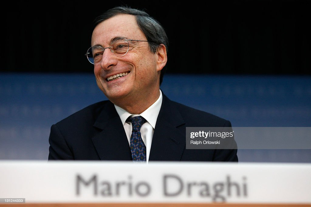 Mario Draghi, new President of the European Central Bank (ECB), speaks to the media following the first meeting of the ECB Governing Council with Draghi at the helm on November 3, 2011 in Frankfurt am Main, Germany. Draghi officially took over from Jean-Claude Trichet as ECB President on November 1 and announced an interest rate cut of 0.25 points from 1.5 percent to 1.25 percent.