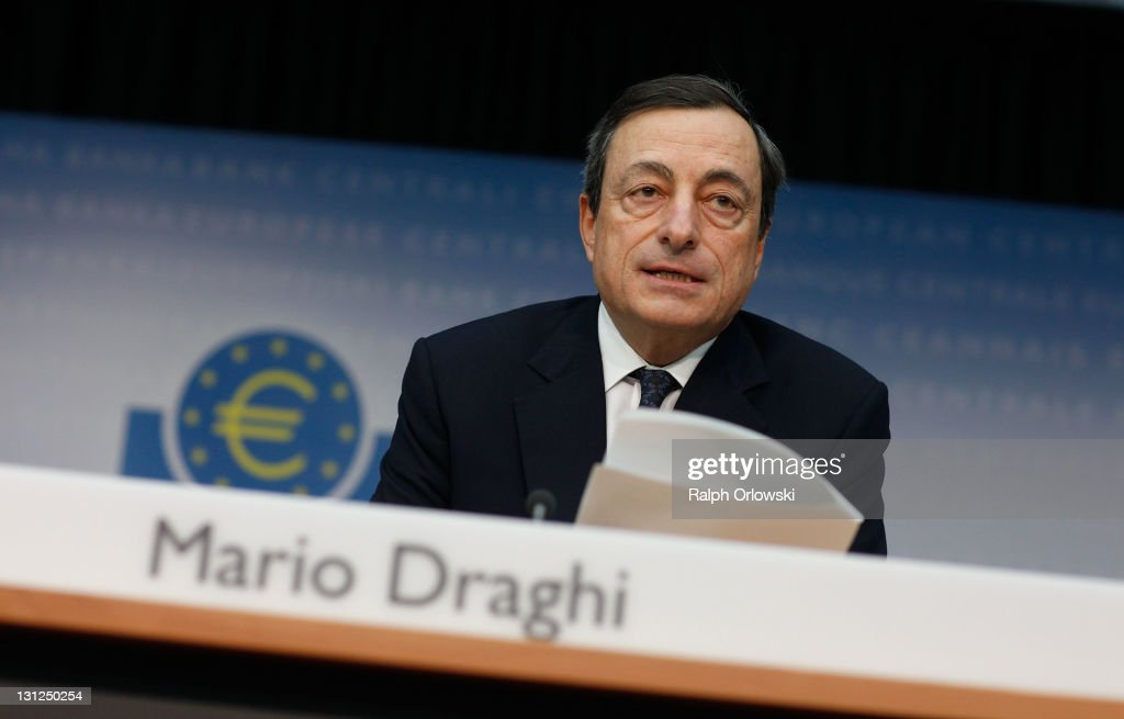 <a gi-track='captionPersonalityLinkClicked' href=/galleries/search?phrase=Mario+Draghi&family=editorial&specificpeople=571678 ng-click='$event.stopPropagation()'>Mario Draghi</a>, new President of the European Central Bank (ECB), speaks to the media following the first meeting of the ECB Governing Council with Draghi at the helm on November 3, 2011 in Frankfurt am Main, Germany. Draghi officially took over from Jean-Claude Trichet as ECB President on November 1 and announced an interest rate cut of 0.25 points from 1.5 percent to 1.25 percent.