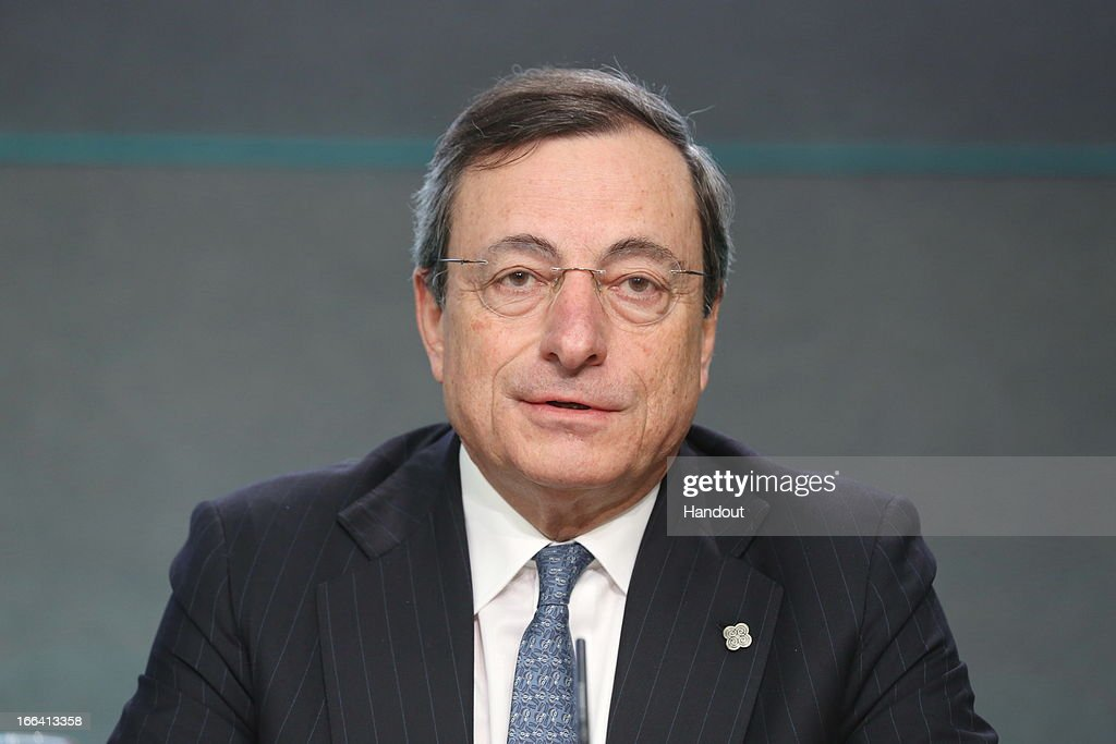 <a gi-track='captionPersonalityLinkClicked' href=/galleries/search?phrase=Mario+Draghi&family=editorial&specificpeople=571678 ng-click='$event.stopPropagation()'>Mario Draghi</a>, President ECB, speaks at a press conference following the Eurogroup meeting of ECOFIN Ministers, at Dublin Castle on April 12, 2013 in Dublin, Ireland.