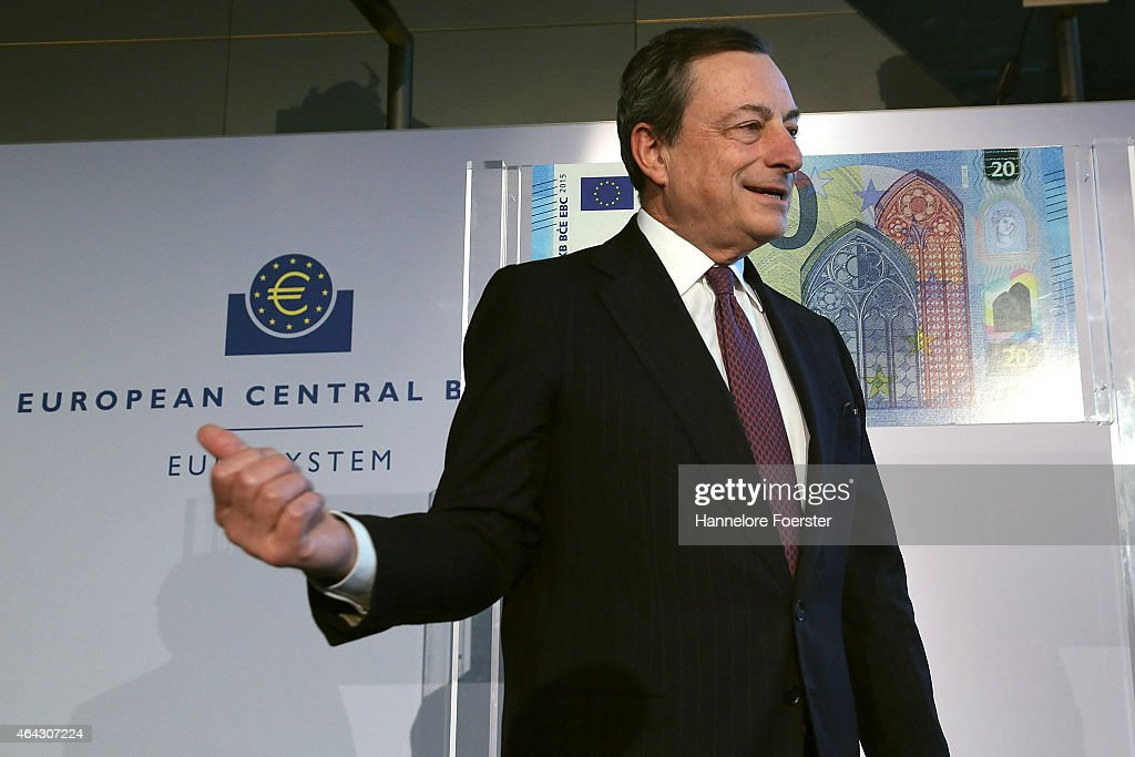 <a gi-track='captionPersonalityLinkClicked' href=/galleries/search?phrase=Mario+Draghi&family=editorial&specificpeople=571678 ng-click='$event.stopPropagation()'>Mario Draghi</a>, president of the ECB, poses after presenting the new 20 EURO note, on February 24, 2015 in Frankfurt am Main, Germany.