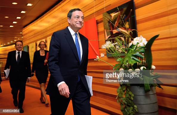 Mario Draghi president of the European Central Bank and his VicePresident Vítor Constancio arrive to a news conference at the bank's headquarters on...