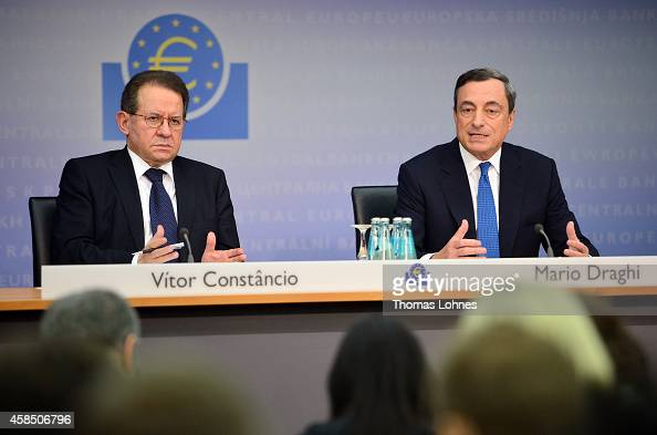 Mario Draghi president of the European Central Bank and his VicePresident Vítor Constancio speak to the media following the monthly ECB board meeting...