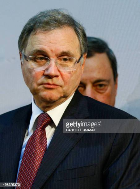 Mario Draghi President of the European Central Bank and Ignazio Visco governor of the Bank of Italy attend a press conference after a meeting with...