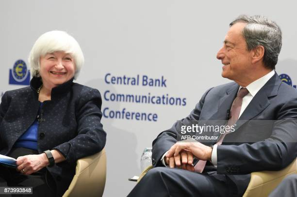 Mario Draghi President of the European Central Bank and US Federal Reserve chief Janet Yellen attend an ECB conference titled 'Communications...