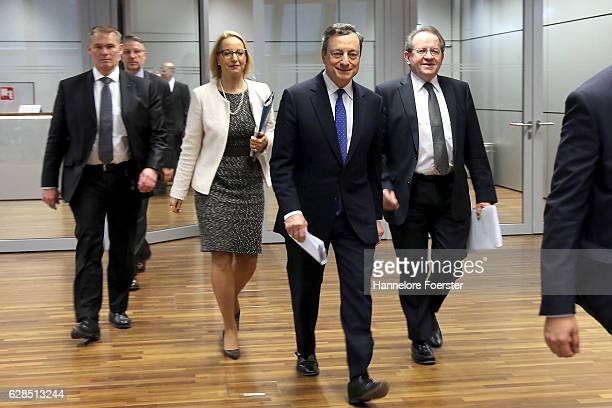 Mario Draghi president of the European Central Bank and Vice President Vitor Constancio arrive for a news conference at the ECB building on December...