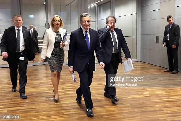 Mario Draghi president of the European Central Bank and Vice President Vitor Constancio went to a press conference at the ECB on December 8 2016 in...
