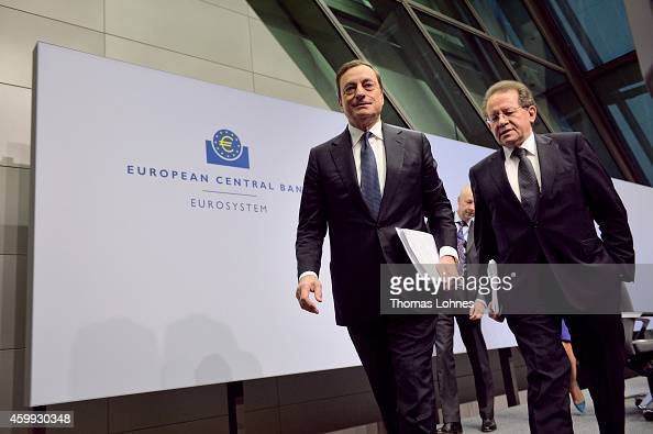 Mario Draghi President of the European Central Bank and vicepresident Vitor Constancio leave the first press conference following the monthly ECB...