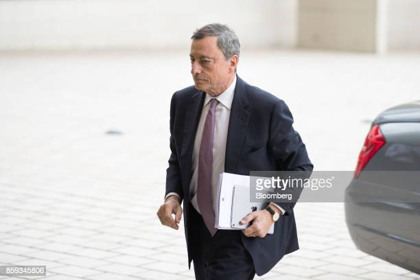 Mario Draghi president of the European Central Bank arrives ahead of a Eurogroup meeting of European finance ministers in Luxembourg on Monday Oct 9...