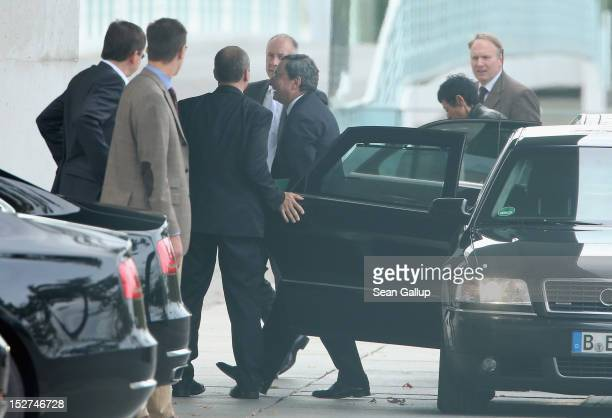 Mario Draghi president of the European Central Bank arrives at the Chancellery to meet with German Chancellor Angela Merkel on September 25 2012 in...