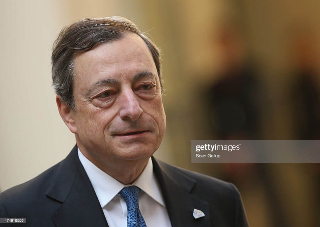 <a gi-track='captionPersonalityLinkClicked' href=/galleries/search?phrase=Mario+Draghi&family=editorial&specificpeople=571678 ng-click='$event.stopPropagation()'>Mario Draghi</a>, President of the European Central Bank (ECB), arrives for a symposium during a meeting of finance ministers of the G7 group of nations on May 28, 2015 in Dresden, Germany. The G7 finance ministers are meeting ahead of the upcoming G7 summit at Schloss Elmau in June.