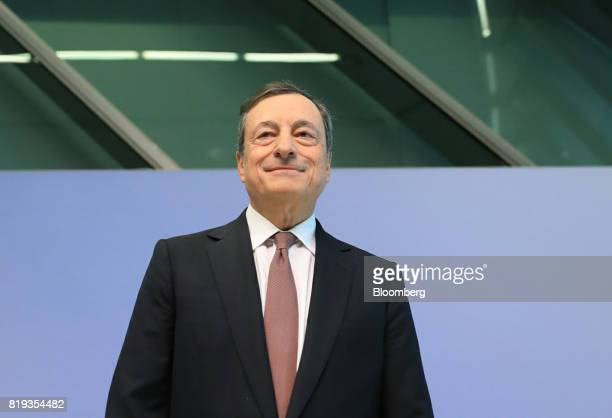 Mario Draghi president of the European Central Bank arrives for a news conference following the bank's interest rate decision at the ECB headquarters...