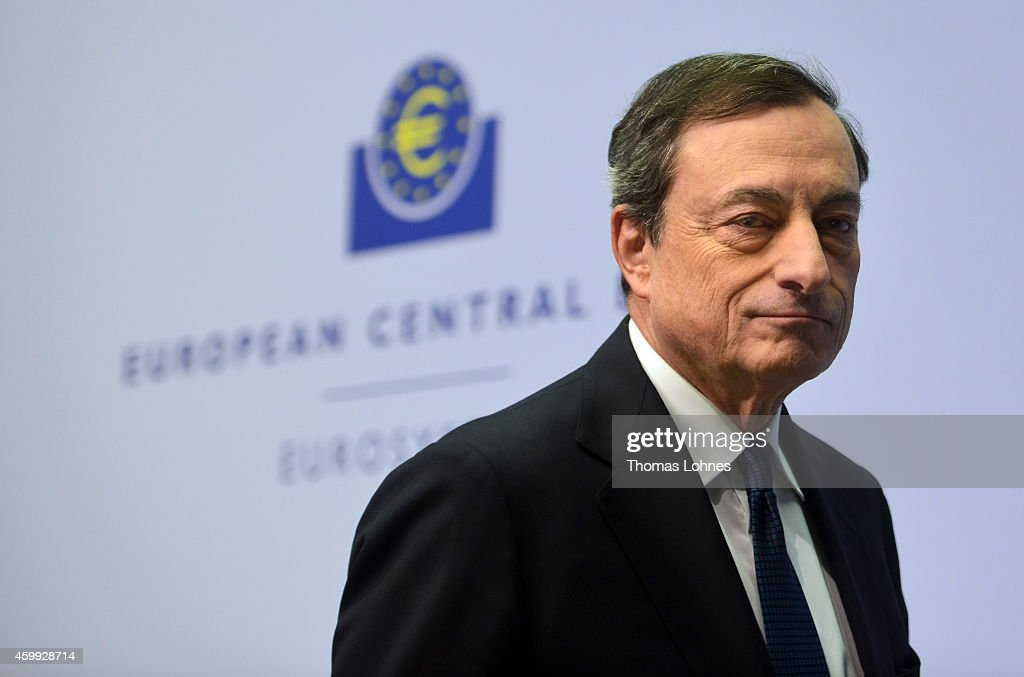 Mario Draghi, President of the European Central Bank arrives for his first press conference following the monthly ECB board meeting in the new ECB headquaters on December 4, 2014 in Frankfurt am Main, Germany.