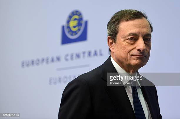 Mario Draghi President of the European Central Bank arrives for his first press conference following the monthly ECB board meeting in the new ECB...
