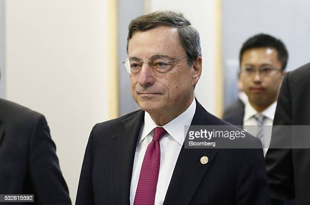 Mario Draghi president of the European Central Bank arrives for the welcome reception ahead of the Group of Seven finance ministers and central bank...